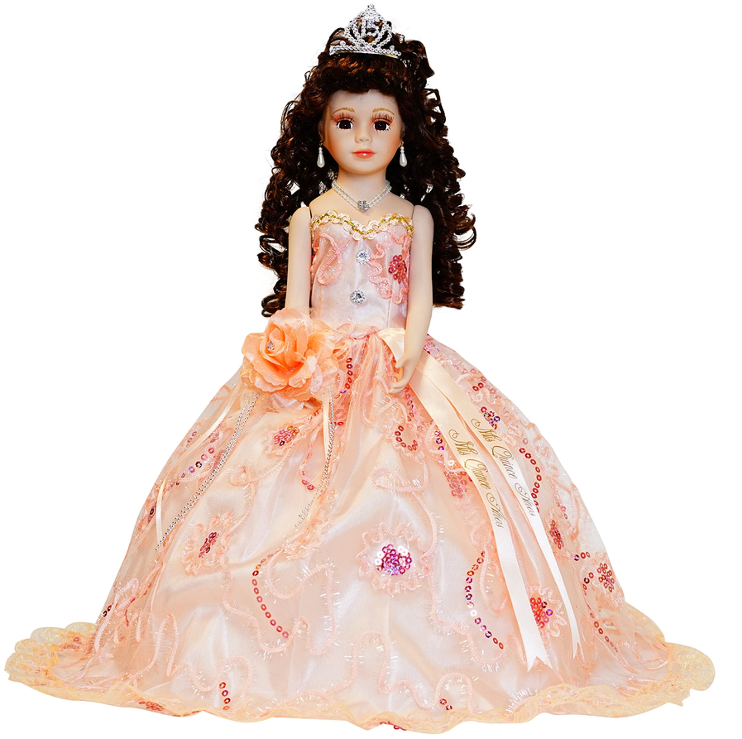 Kinnex Collections by Amanda 18'' Porcelain Quinceanera Umbrella Doll (Table Centerpiece)~ Peach~ KK18725-28 by Kinnex Collections by Amanda (Image #2)