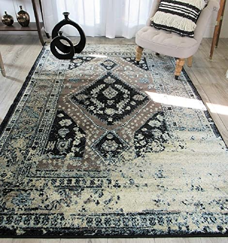 Premium Heavy-Duty Thick Traditional Rugs Oriental Rug Distressed Vintage Area Rug For Living Rooms Clearance Medium 5 x8 , Brown
