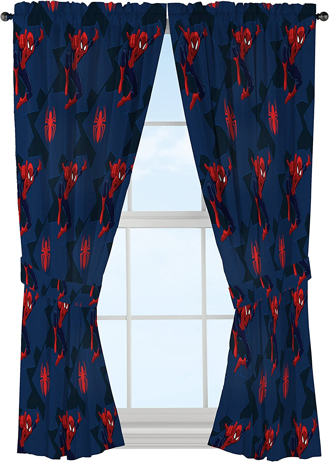"Jay Franco Marvel Spiderman Classic Saving The Day 63"" Decorative Curtain/Drapes 4-Piece Set (2 Panels, 2 Tiebacks)"