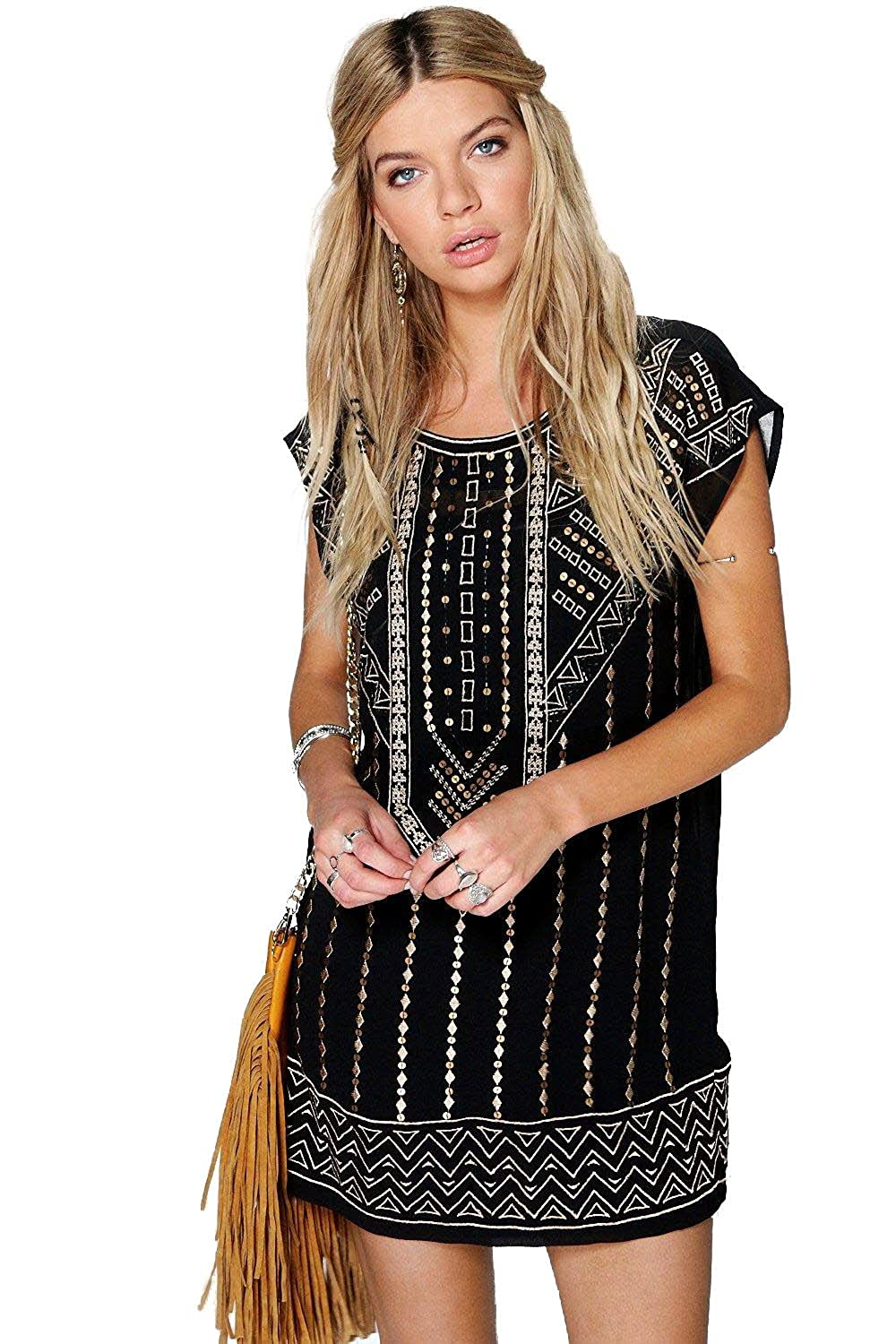 Black Womens Boutique Ruth Embroidered Beaded Shift Dress