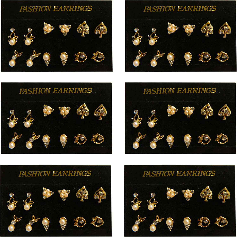 Pendiente con tuerca 36 pares perlas brillantes imitación base dorada joyería accesorios moda
