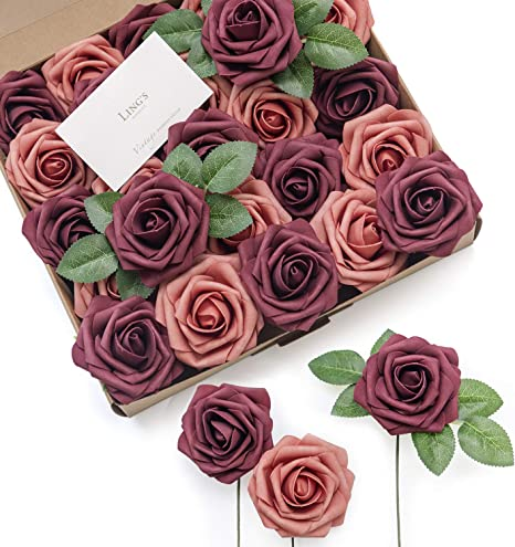 Millinery DIY Wedding 12 Miniature Artificial BURGUNDY RED Roses- Artificial Flowers Hair Accessory Flower Crown Corsage Silk Flowers