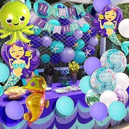 Under the Sea Decor Mermaid Birthday Banner Mermaid Birthday Theme,Under the Sea Theme Mermaid Baby Shower Happy Birthday Banner
