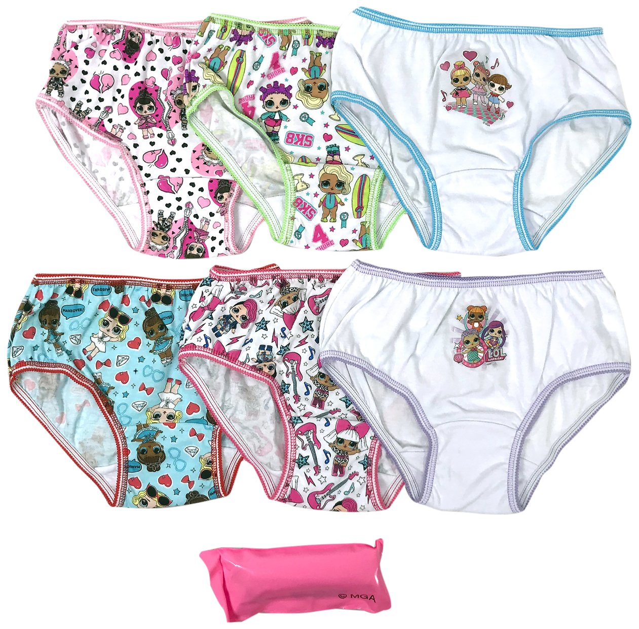 Handcraft Girls' Little 7-Pack LOL Surprise Underwear Panty, lola Multi, 6