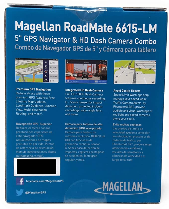 Amazon.com: Magellan RoadMate 6615-LM Automobile Portable GPS Navigator and Full HD 1080p Dash Camera - Portable: Sports & Outdoors