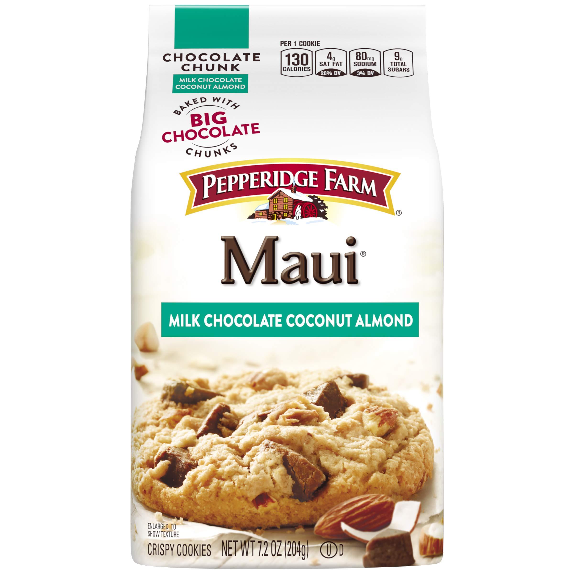 Pepperidge Farm Maui Milk Chocolate Coconut Almond Chocolate Chunk Crispy Cookies (Pack of 4)