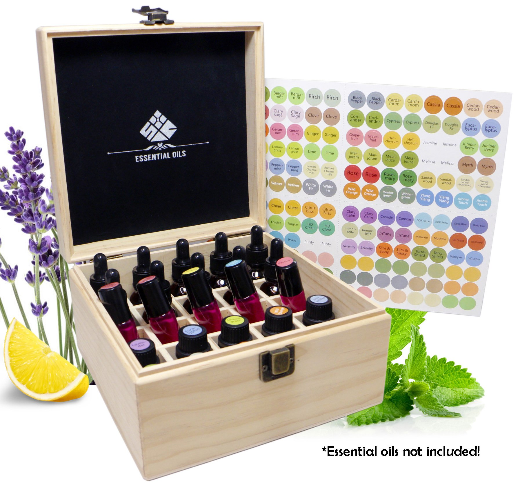 SXC 25 Slot Wooden Essential Oil Box/case, holds 25 5-5ml&10ml Roller Bottles, Perfect Essential Oil Storage/organizer Case For Travel and Presentation by SXC (Image #1)