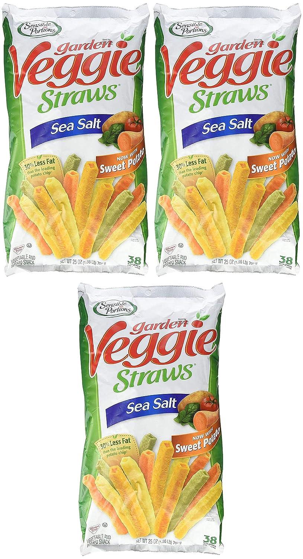 Sensible Portions Garden Veggie Straws Sea Salt 25 Oz. (1.56 Lb.) Bag Pack of 3
