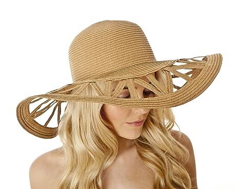 1de70ddbff3 i-Smalls Women s Summer Paper Straw Cut Out Wide Brim Floppy Sun Hat  (Biscuit