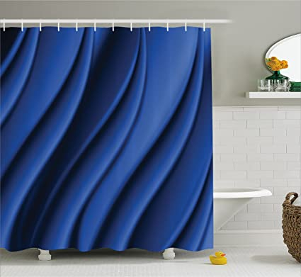 Ambesonne Navy Blue Shower Curtain Ocean Waves Inspired Design With Digital Reflection Aqua Sea Abstract