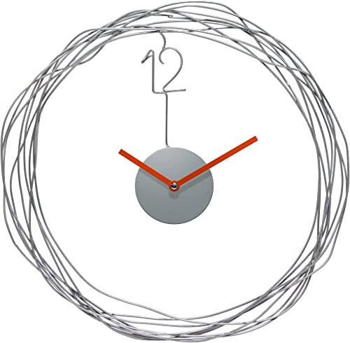 Infinity Instruments 14427 Modern Wire Transfer Wall Clock, 14 Round Diameter, Metal Wire Case, Orange Metal Hands, Open Face, Quartz Movement
