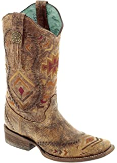 92e5421a1ee9 Corral Boots Women s 12-Inch Leather Southwestern Pattern   Whip Stitch  Square Toe Western Boot