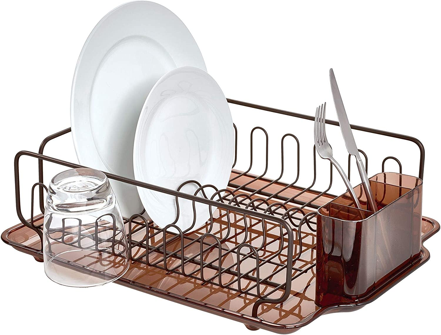 Amazon Com Idesign Forma Lupe Stainless Steel Metal Sink Dish Drainer Plastic Tray Kitchen Drying Rack For Glasses Silverware Bowls Plates Utensils Set Of 1 Bronze Home Kitchen