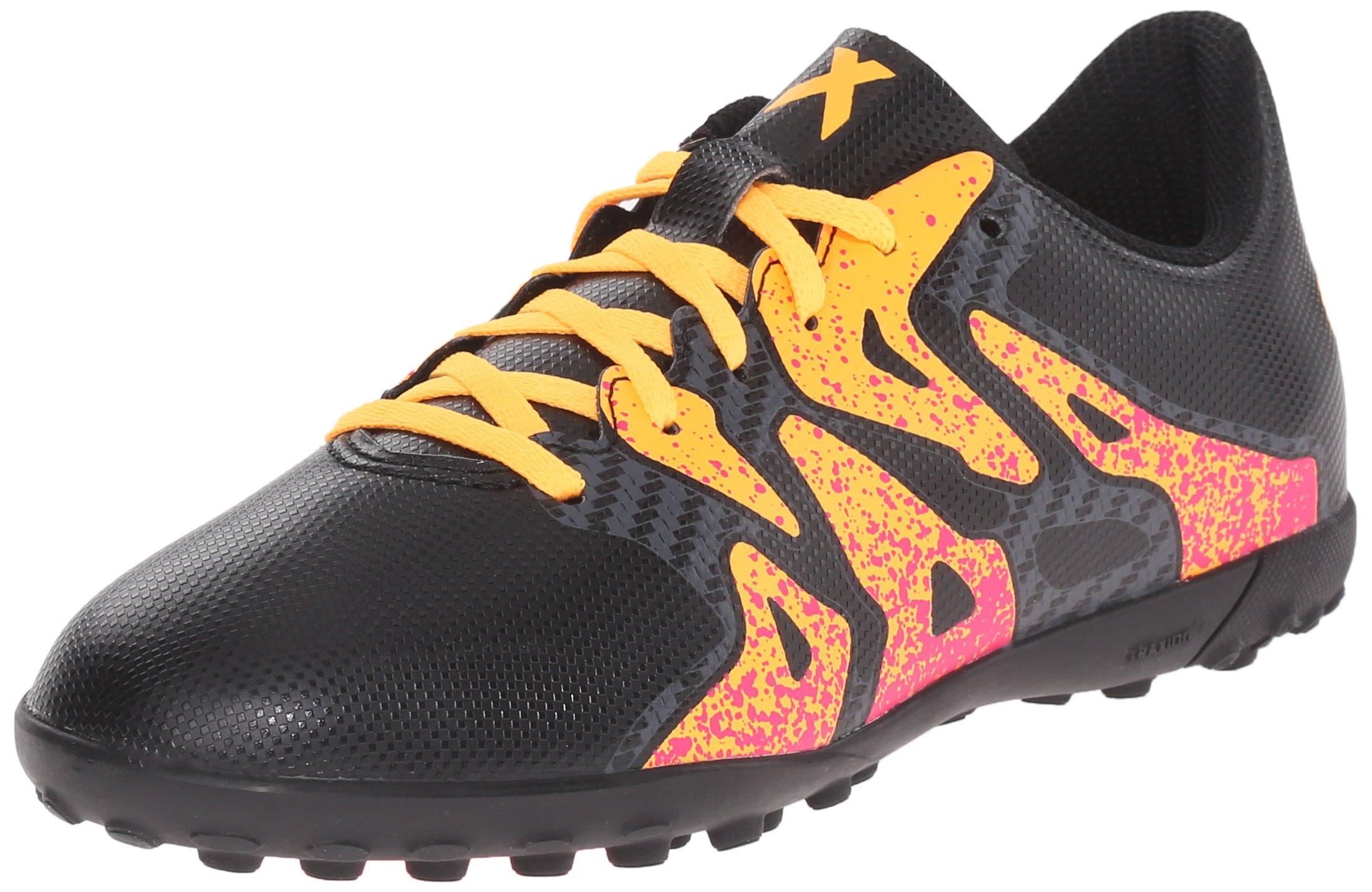 adidas Performance X 15.4 TF J Soccer Shoe (Little Kid/Big Kid),Black/Shock Pink/Gold,10.5 M US Little Kid