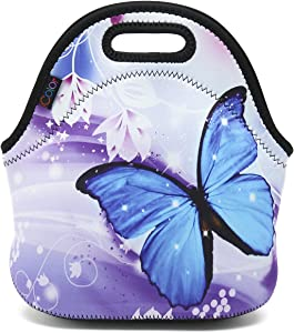 ICOLOR Blue Butterfly Thermal Neoprene Waterproof Kids Insulated Lunch Portable Carry Tote Picnic Storage Bag Lunch box Food Bag For School work Office FLB-014