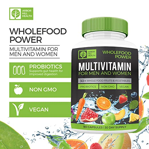 amazon com wholefood power daily multivitamins and minerals for women and men 90 count 30 plus real whole food fruits and vegetables probiotics