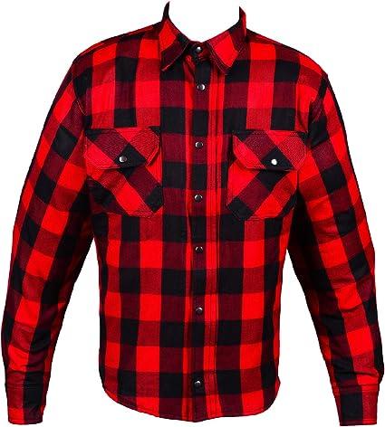 HHH SPORTS WEARS - Camisa de moto de franela forrada de Kevlar y protecciones XL rojo: Amazon.es: Coche y moto
