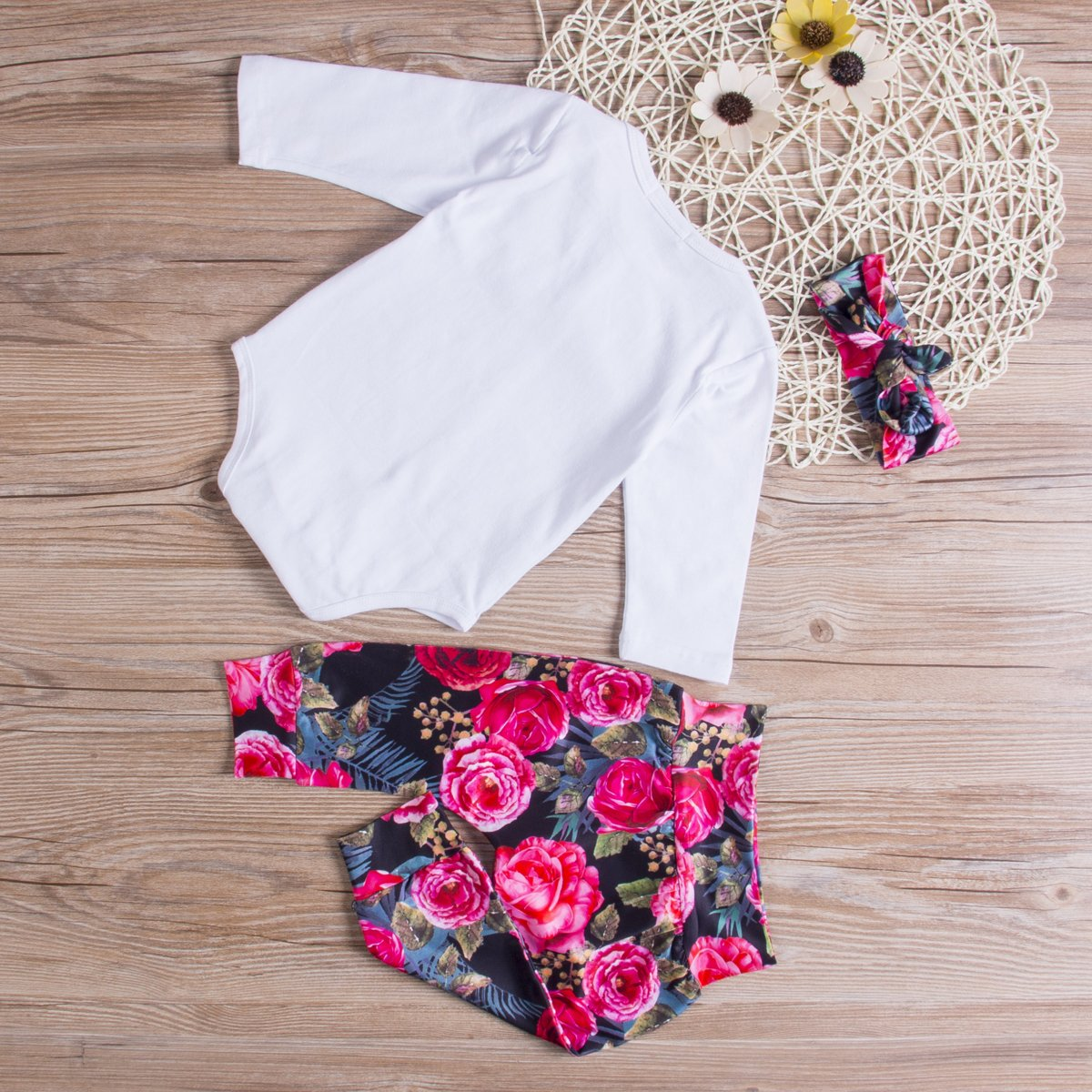 Baby Girls Little Sister Bodysuit Tops Floral Pants Bowknot Headband Outfits Set, White (0-6 Months) by Ma&Baby (Image #6)