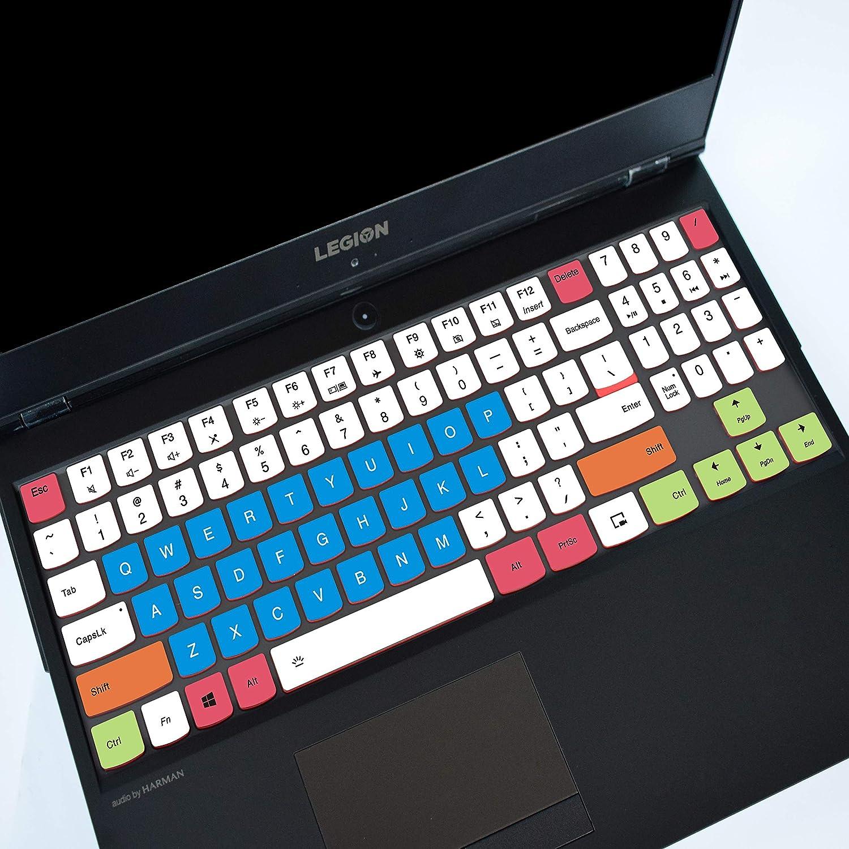 """LEZE - Ultra Thin Keyboard Cover Compatible with 15.6"""" Lenovo Legion Y530 Y540 Y545 Y7000 Y7000P, 17.3"""" Legion Y730 Y740 Gaming Laptop - White Blue"""