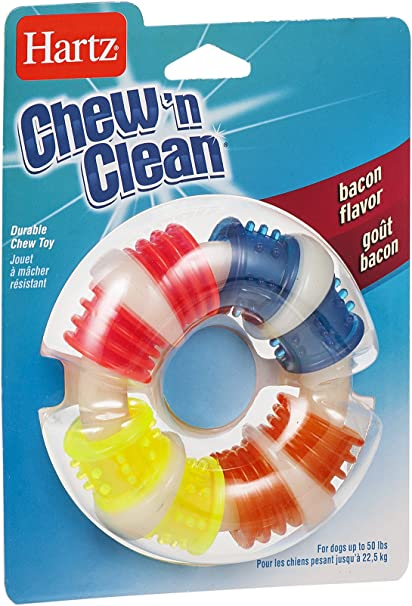 Small//Medium Hartz Chew N Clean Teething Ring For Dogs