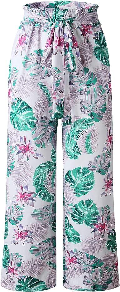 Riceboutiques Tie Dye Estampado Floral Pantalones De Cintura Alta Palazzo Nuevos Pantalones Anchos Para Mujer Con Bolsillo Lateral L Blanco Amazon Es Ropa Y Accesorios