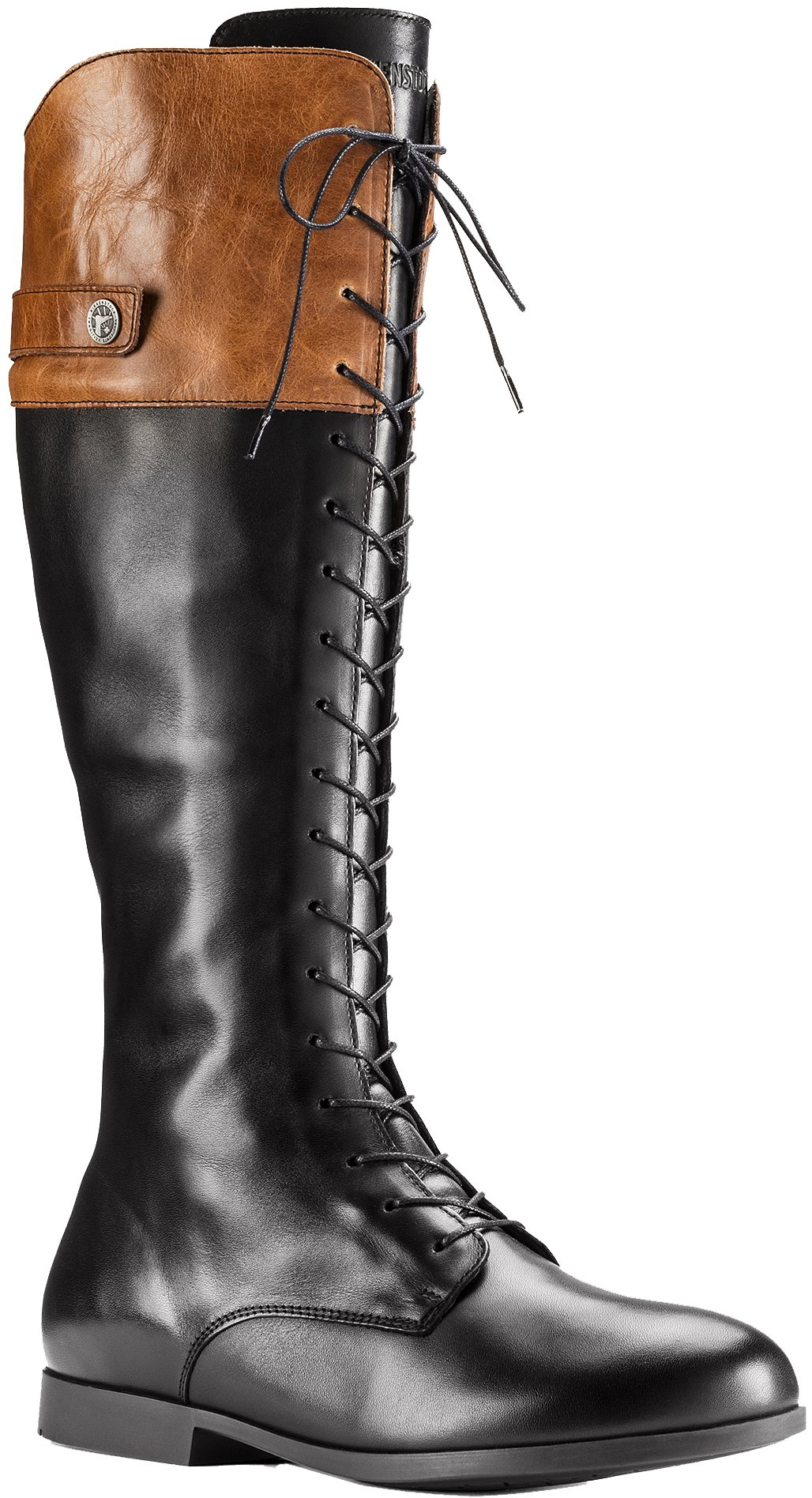 Birkenstock Women's Longford Boot Black/Camel Leather Size 38 M EU