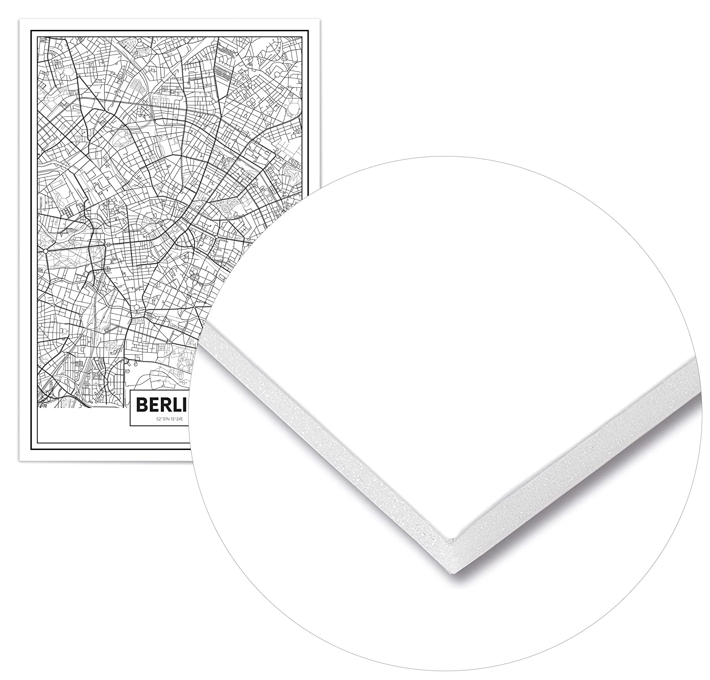 D/écoration Murale Imprim/ée sur Poster de Grande qualit/é Affiche Vintage Panorama/® Poster Carte de Berlin 21 x 30 cm Tableau Moderne pour la Maison Poster Ville Noir et Blanc