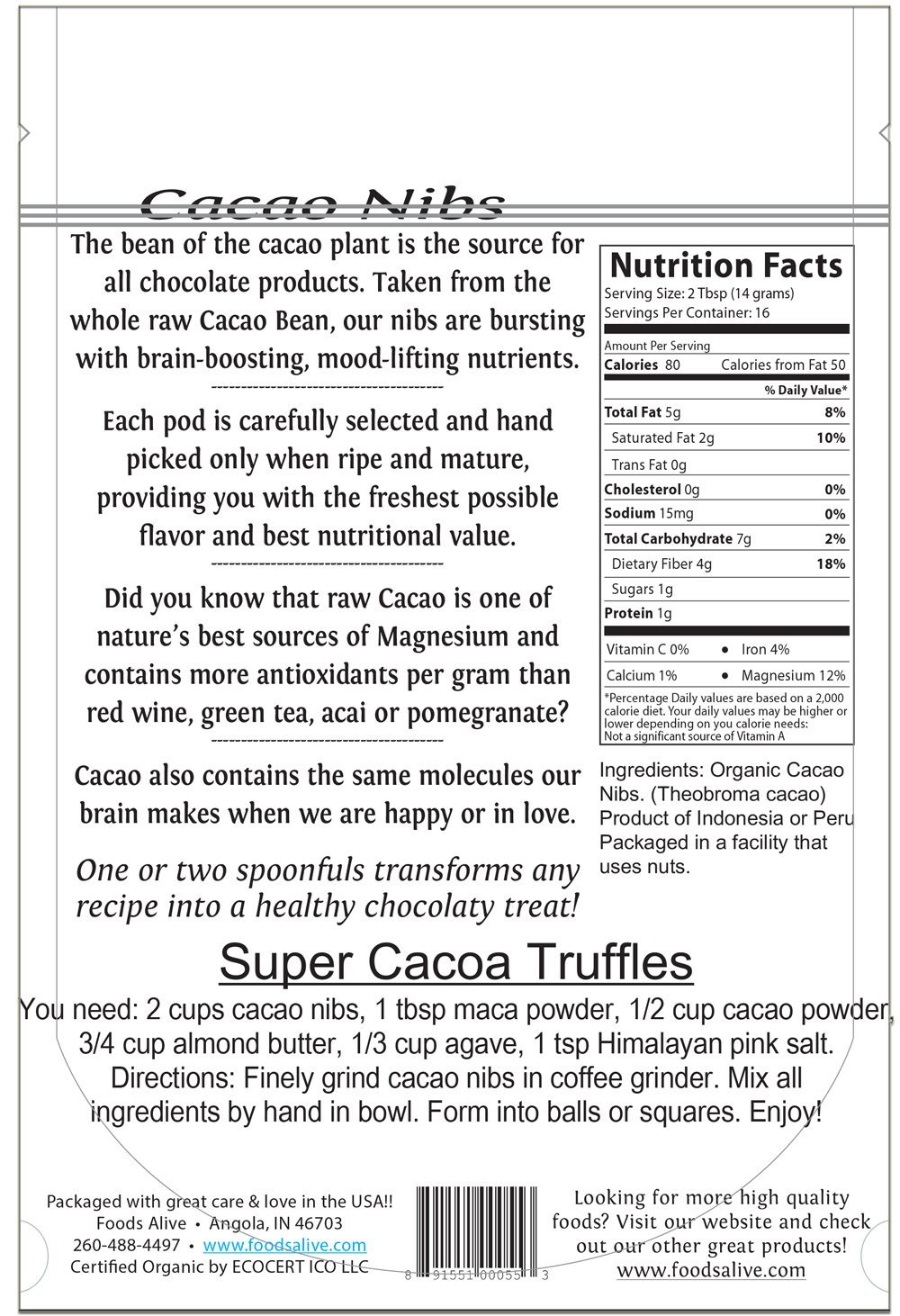 Foods Alive Superfoods Cacao Nibs 8 oz 227 g