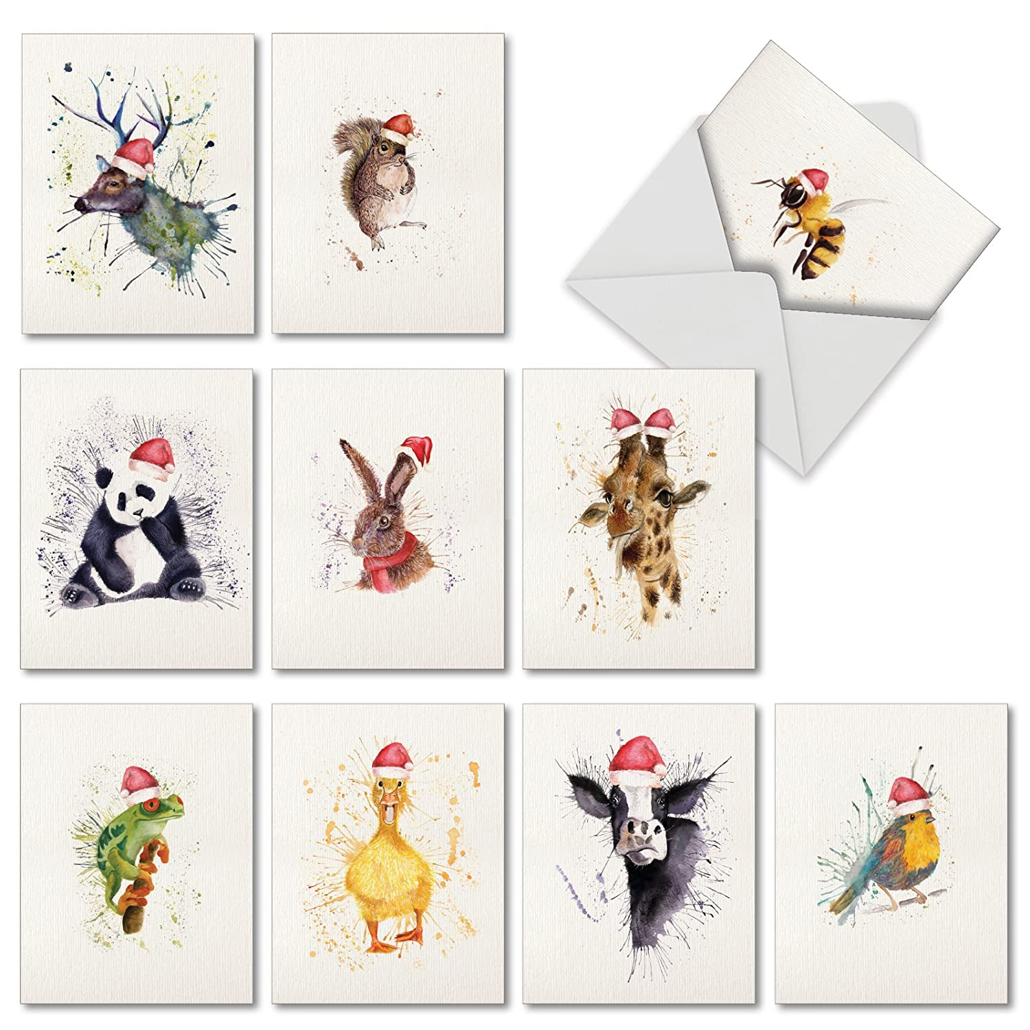 Watercolor Christmas Cards.10 Animal Watercolor Christmas Cards With Envelopes 4 X 5 12 Inch Assortment Of Boxed Greeting Cards Wildlife Expressions Fun And Colorful