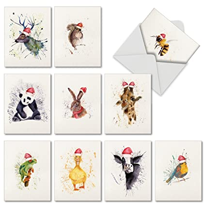 Amazon 10 watercolor animal holiday cards with envelopes 10 watercolor animal holiday cards with envelopes small 4 x 525quot m4hsunfo