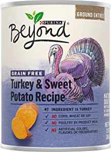 Purina Beyond No Grain Turkey and Sweet Potato Recipe Ground Entree Dog Food (6-cans) ,13 Ounce Each can, 13 OZ CANS (178348)