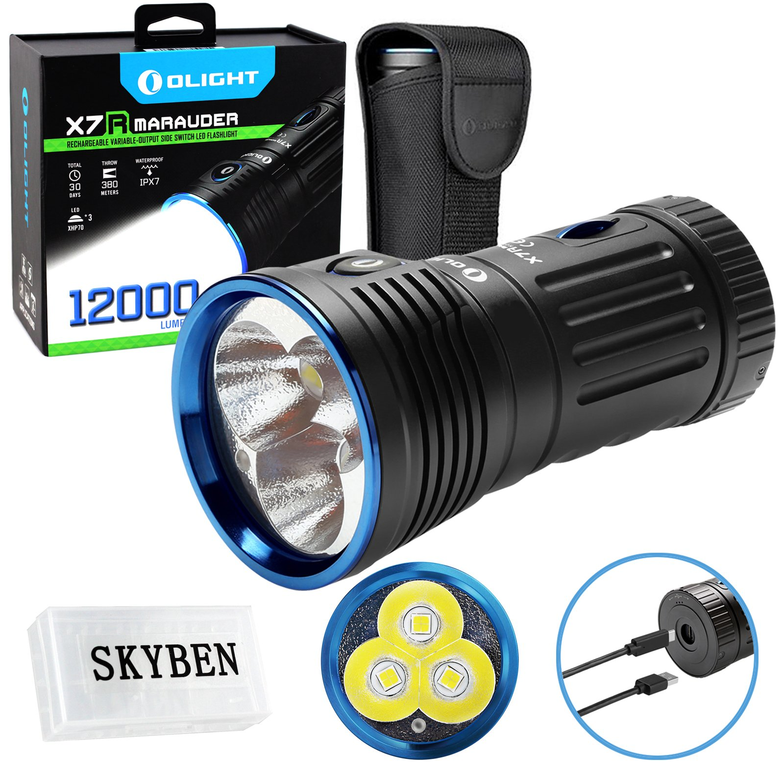 Olight X7R Marauder 12000 Lumens CREE XHP 70 LED USB Rechargeable Flashlight for Camping,Hunting,Searching,with 4 X 18650 Rechargeable Batteries (Built-in) and SKYBEN Accessory