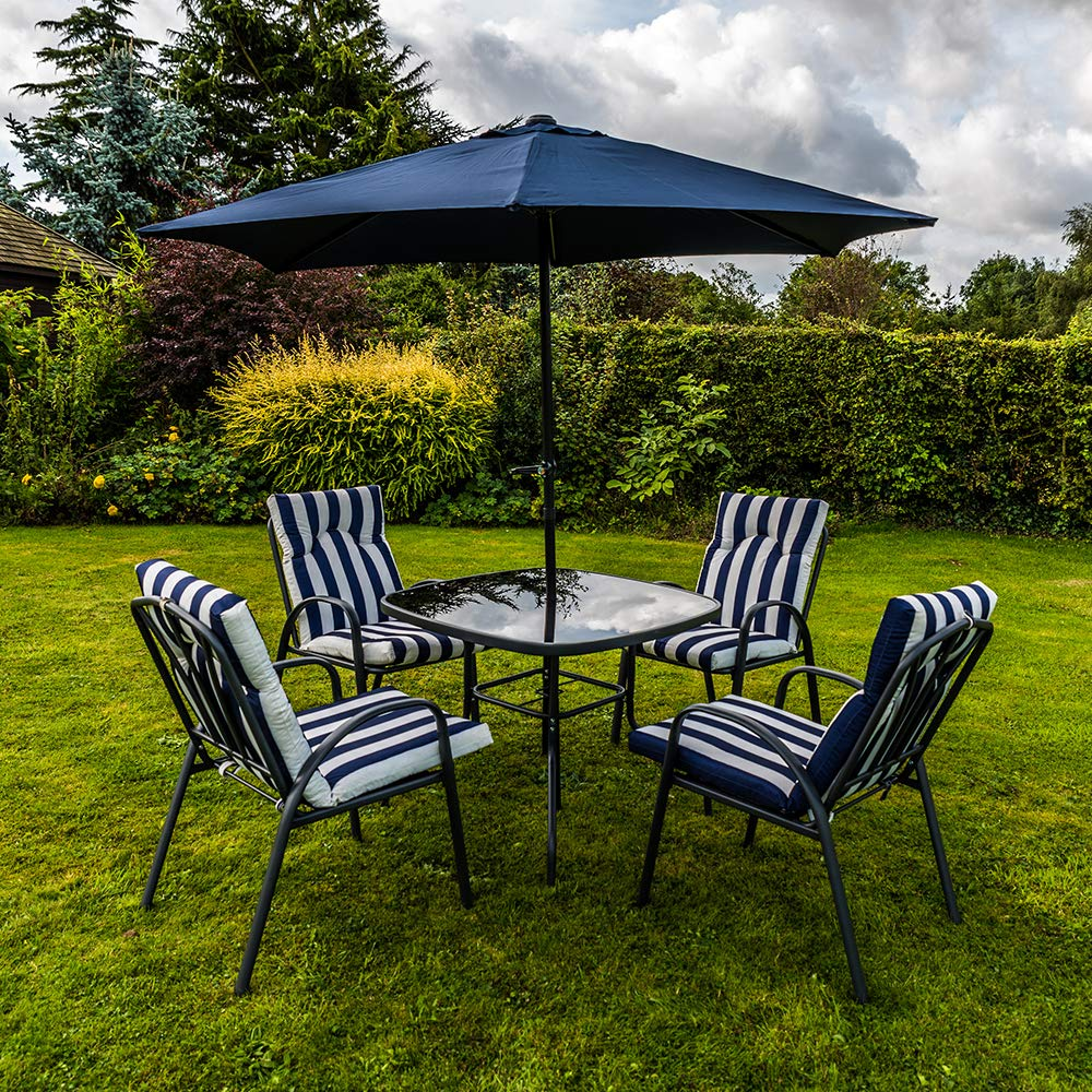 Kingfisher 8 Piece Navy Blue/White Padded Chairs x8, Glass Table & Parasol  Garden Patio Furniture Set