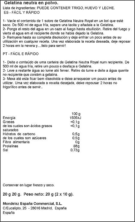 Royal - Gelatina Sin Sabor - [pack de 4]