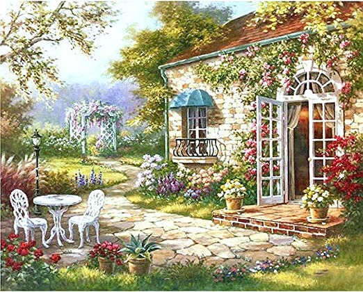 CADANIA DIY Paint by Number Kit Pintura Digital Al Óleo Belleza Jardín Paisaje Lienzo: Amazon.es: Hogar