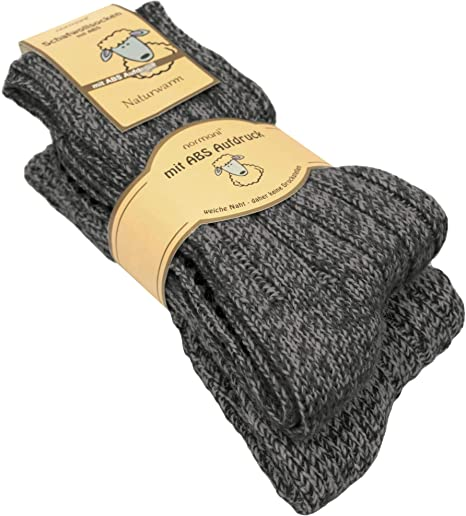 2 Paar normani® naturwarme Schafwollsocken mit ABS Haussocken