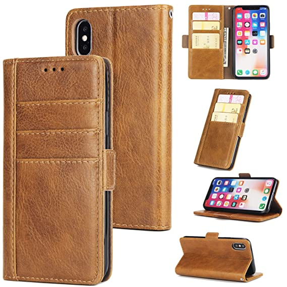 new style ef476 4128c Amazon.com: Credit Card Leather Men Wallet Apple Case iPhone Case Xs ...