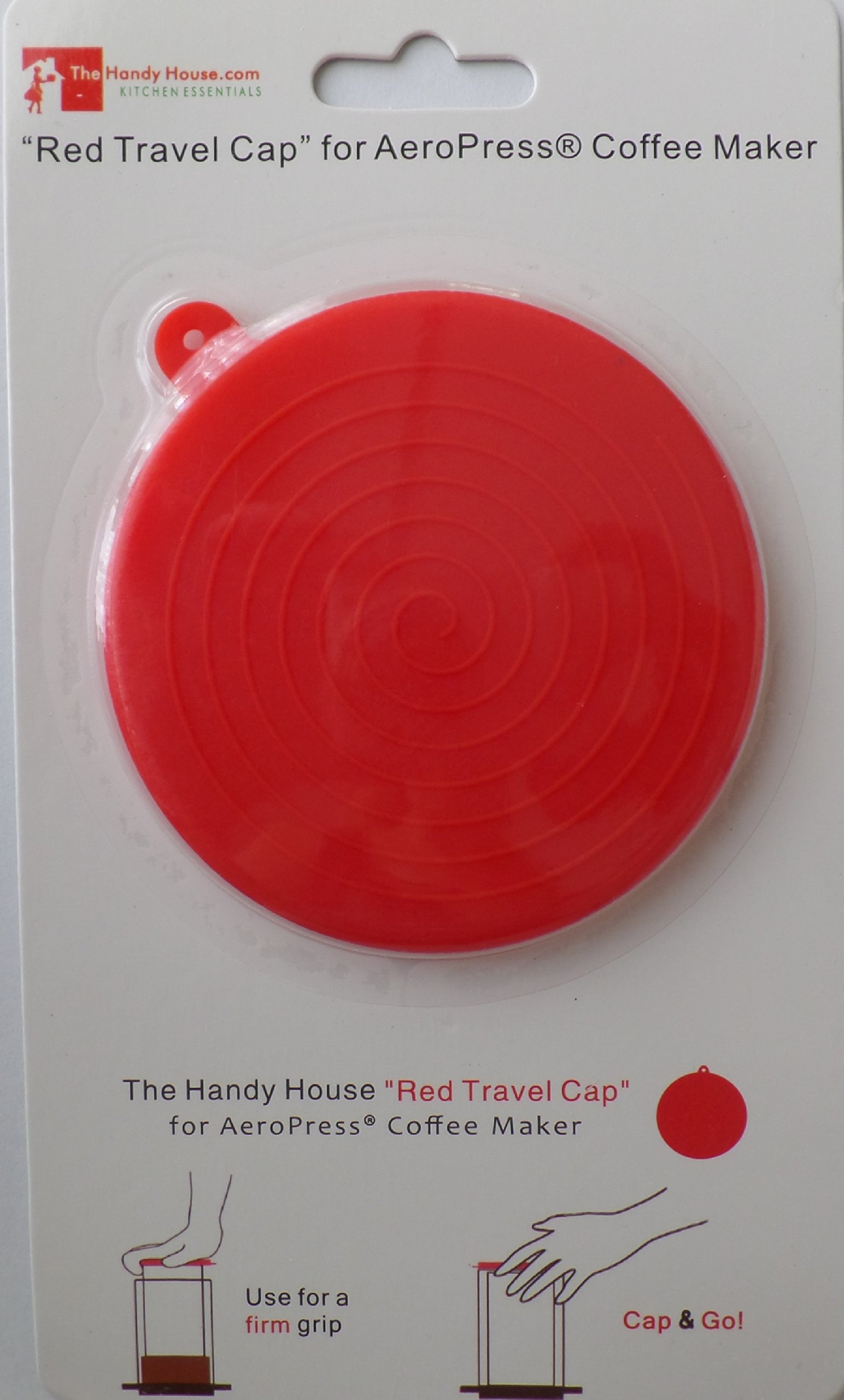 The Handy House Travel Cap for AeroPress Coffee Maker, Red by The Handy House (Image #7)