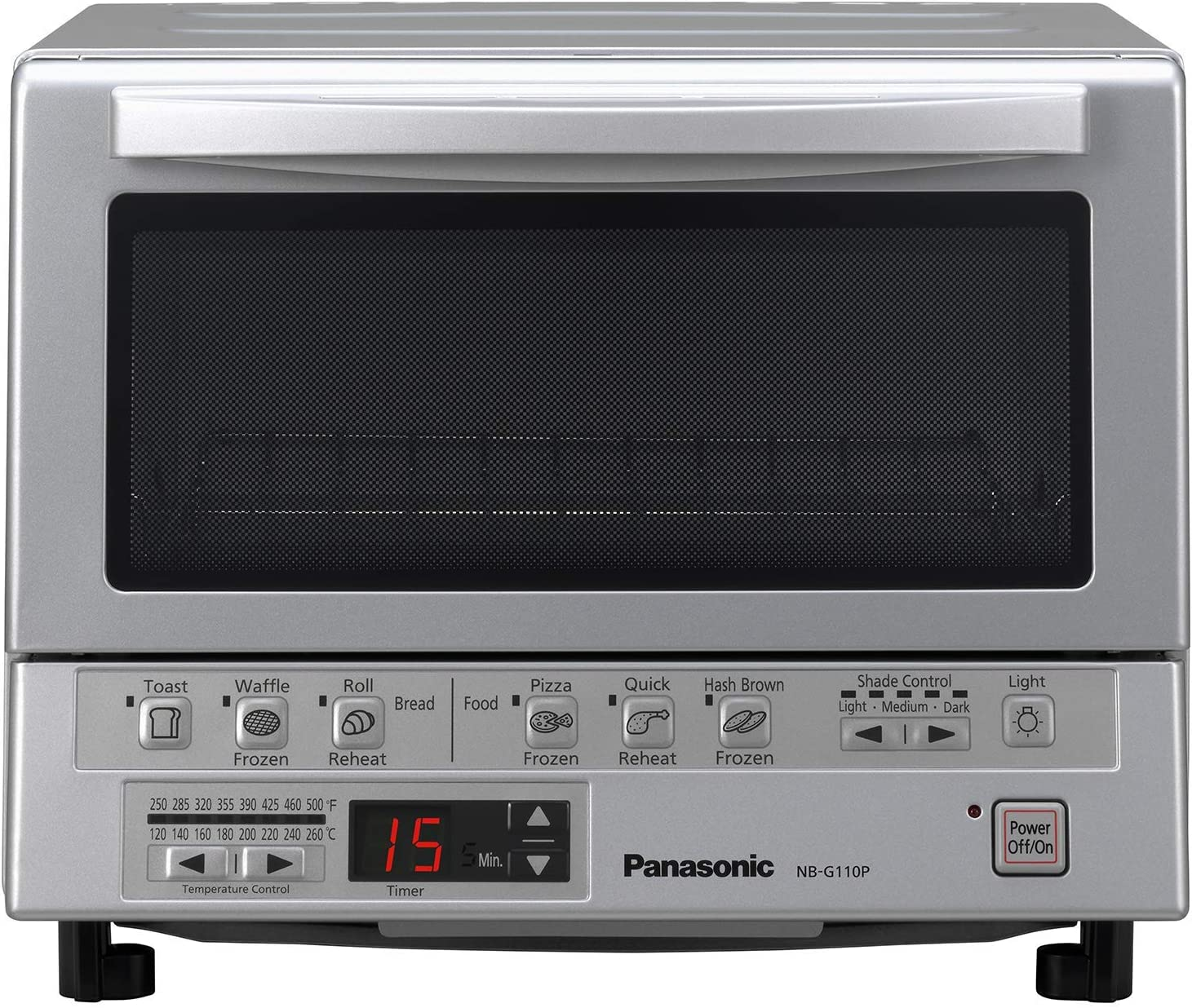 Panasonic FlashXpress Compact Toaster Oven with Double Infrared Heating, Crumb Tray and 1300 Watts of Cooking Power - 4 Slice Countertop Toaster Oven - NB-G110P (Stainless Steel) (Renewed)
