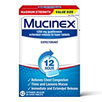 Chest Congestion, Mucinex Maximum Strength 12 Hour Extended Release Tablets, 42ct...