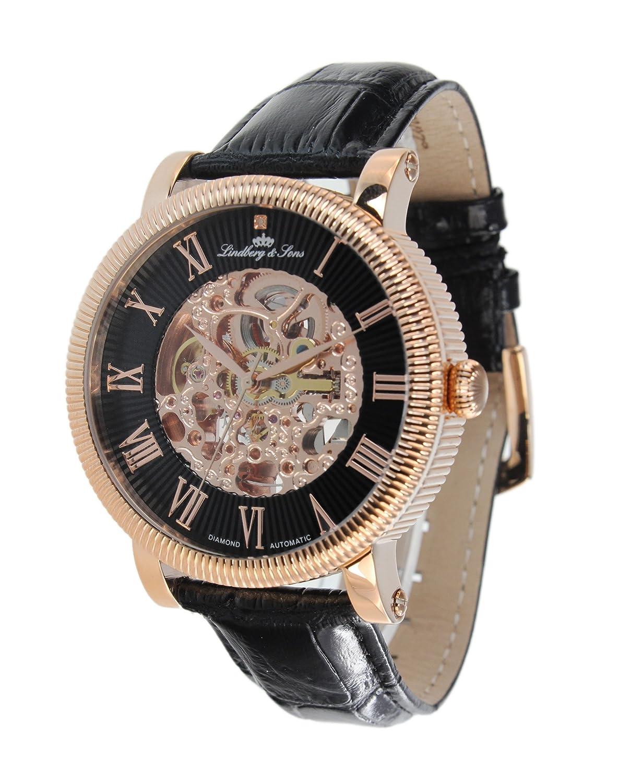 Lindberg & Sons Herren-Armbanduhr mit einem echten Diamanten - Automatik Analog Skelettuhr Lederarmband Schwarz -