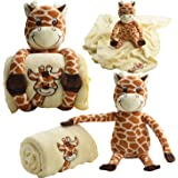Baby Touch Baby Blanket Giraffe and Plush with 11-Inch Giraffe Toy and Ebook