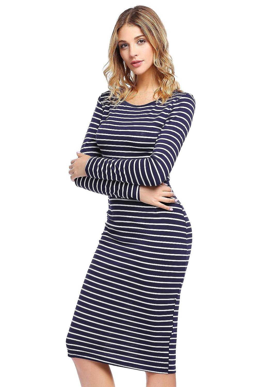 2cf6bde5e5fe ELESOL Women s Classy Striped Bodycon Blue and White Midi Dress Blue White  L at Amazon Women s Clothing store