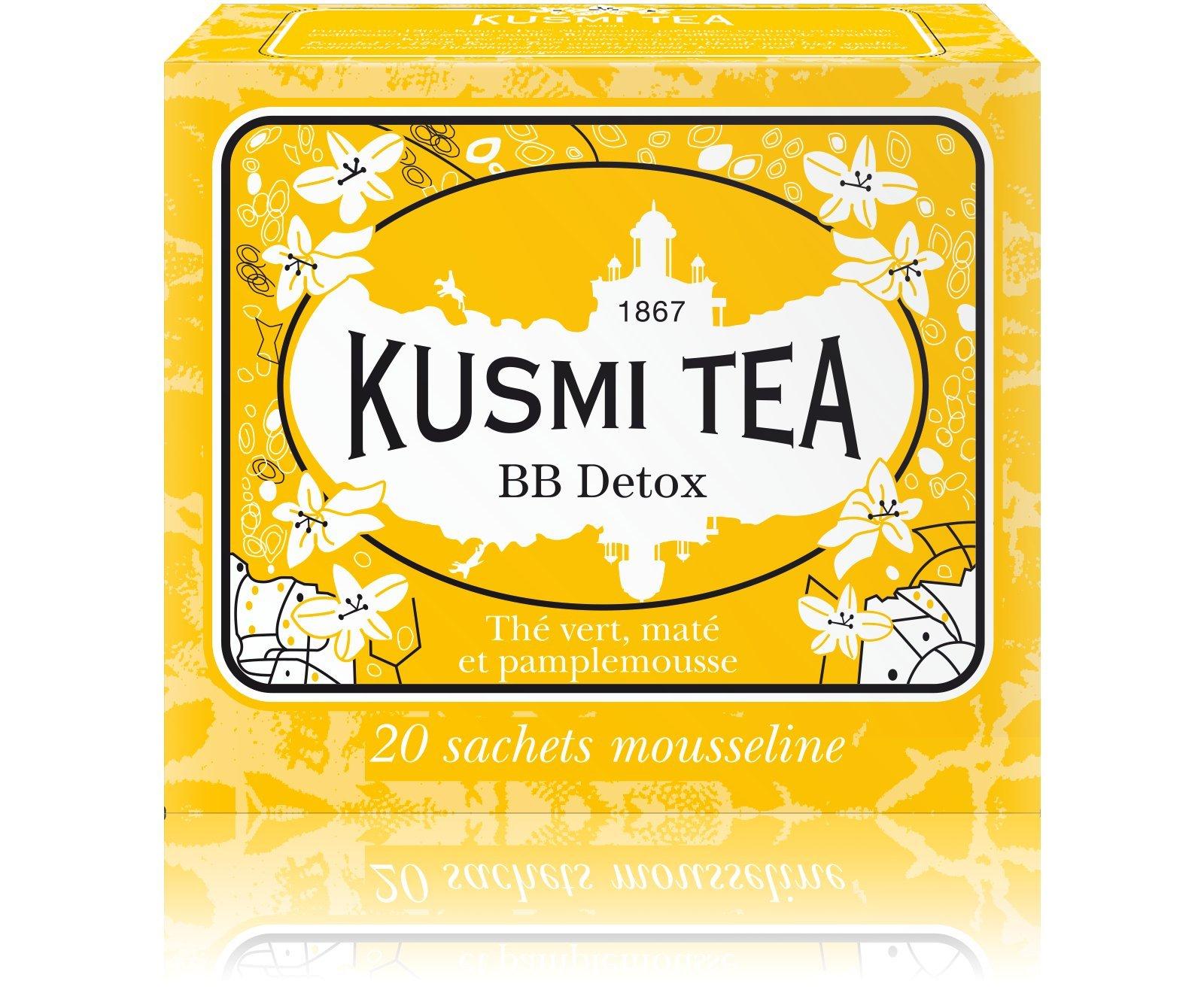Kusmi Tea - BB Detox - Natural Green Tea with Yerba Mate, Rooibos, Guarana, Dandelion Infusion with a Hint of Grapefruit - All Natural Premium Loose Leaf Green Tea Enveloped in 20 Muslin Tea Bags