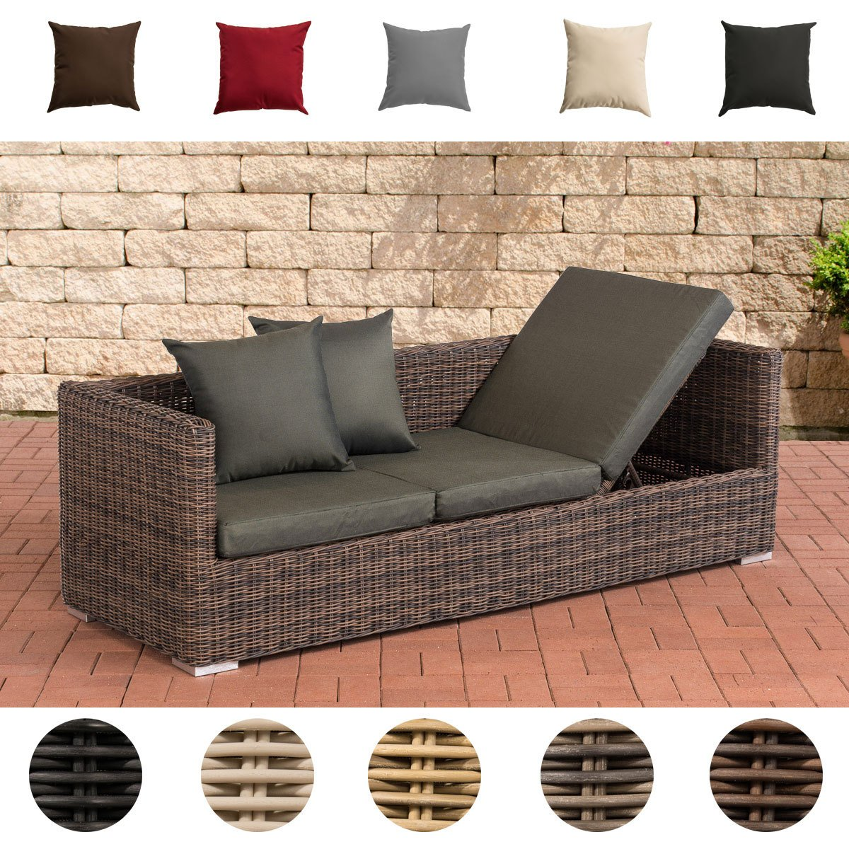 CLP flexibles Luxus Poly Rattan 3er Lounge Sofa SOLANO 5mm