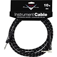 Fender Custom Shop Performance Series Cable, Black Tweed, 10 foot (3m), Straight Jack to Angled Jack