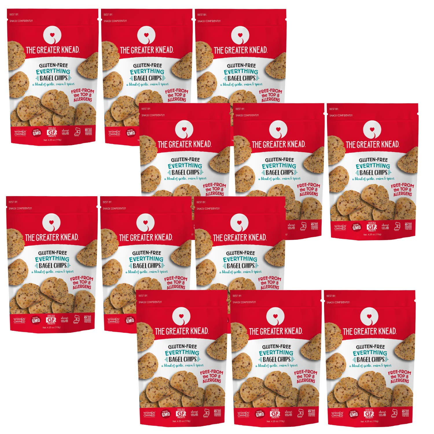 Greater Knead Gluten Free Bagel Chips - Everything, Vegan, non-GMO, Free of Wheat, Nuts, Soy, Peanuts, Tree Nuts (12 packs) by The Greater Knead