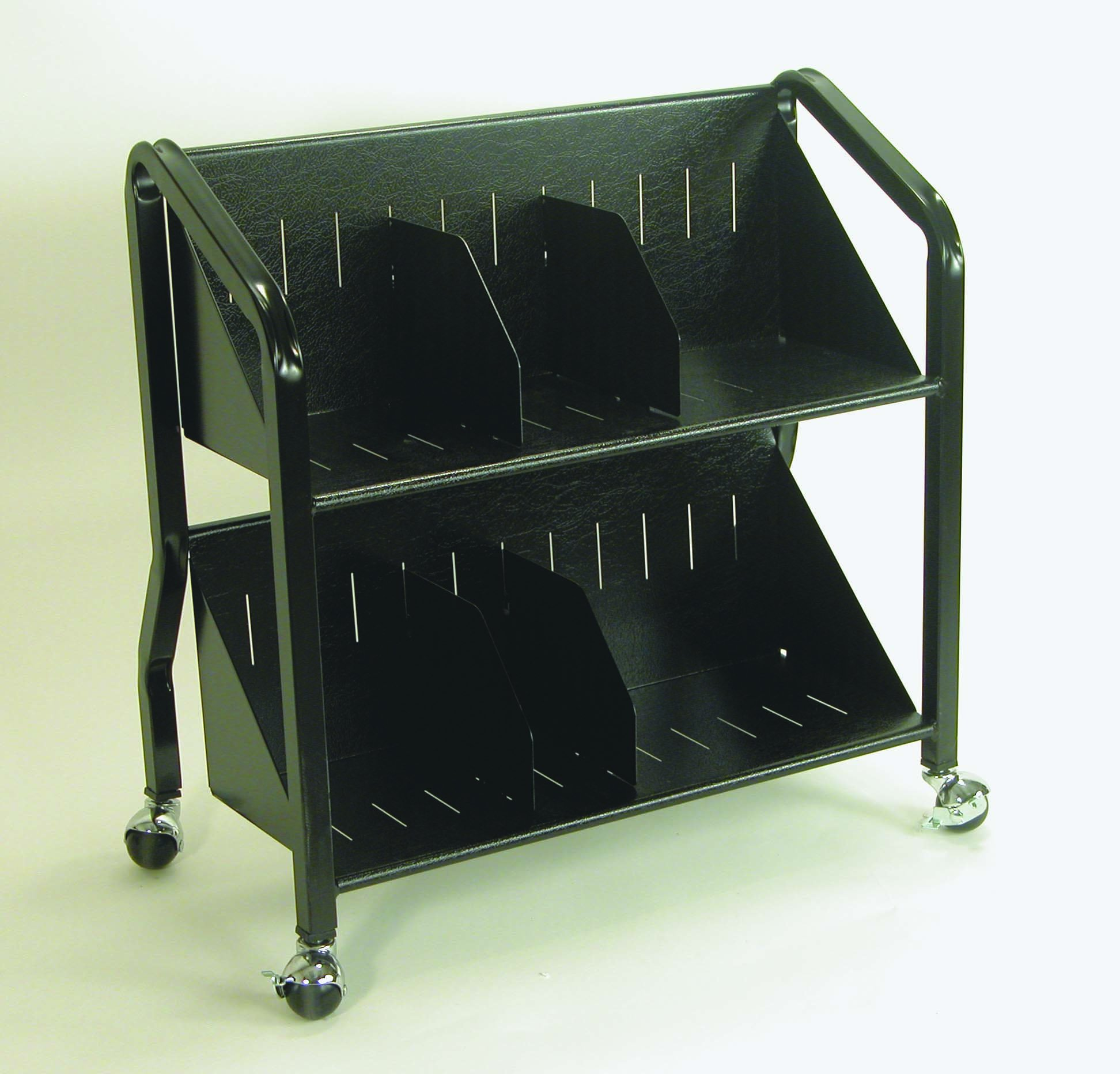 Buddy Products Two-Shelf Sloped Book Cart with Dividers, 15 x 27 x 29 Inches, Black (5413-4) by Buddy Products