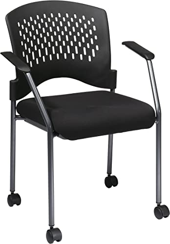 Office Star Rolling Visitors Chair with Plastic Contour Back Charcoal