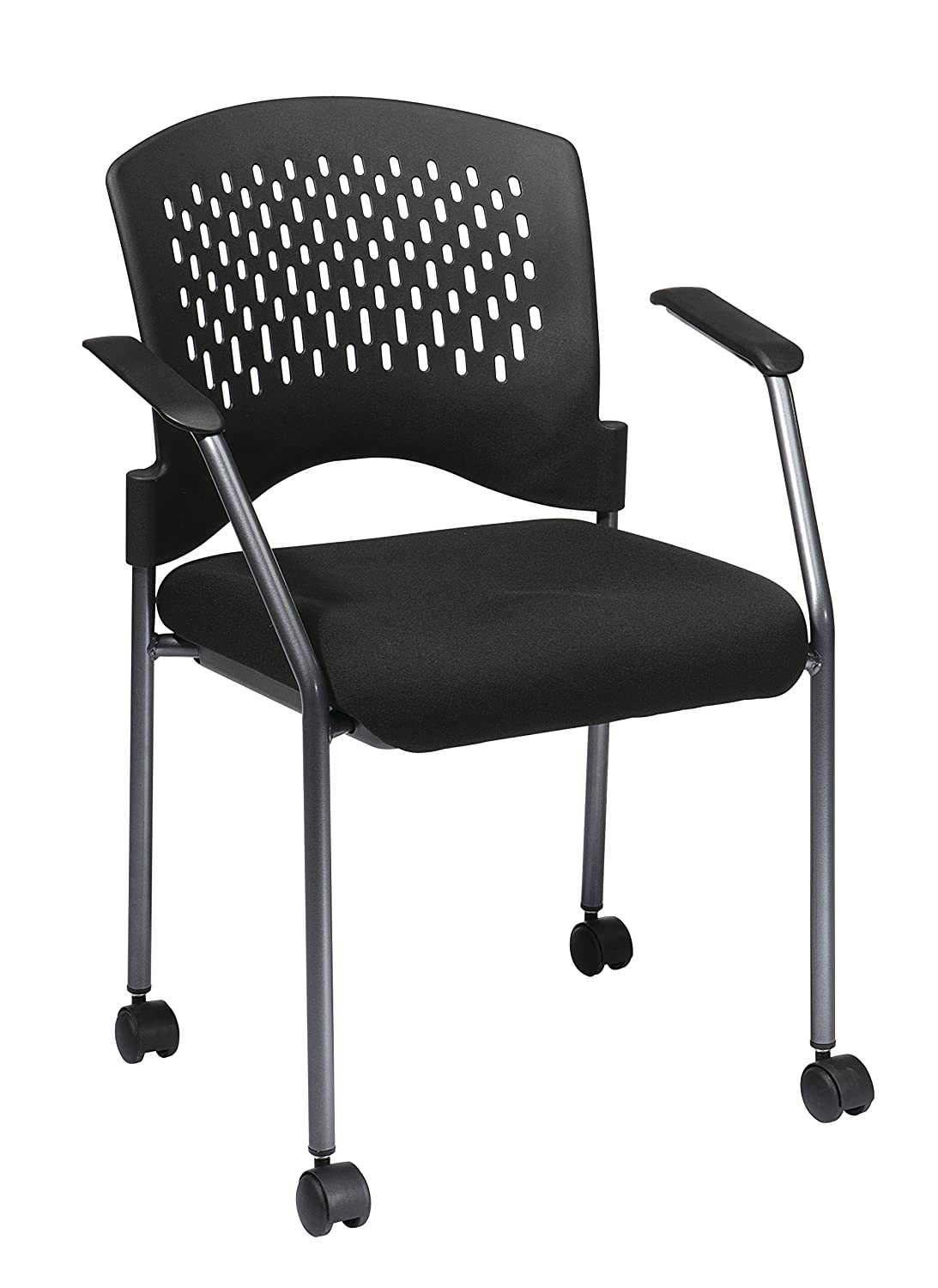 Office Star Ventilated Plastic Back and Padded Coal Free Flex Seat, Fixed Arms, Titanium Finish Stacking Visitors Chair with Casters, Black 8640-30